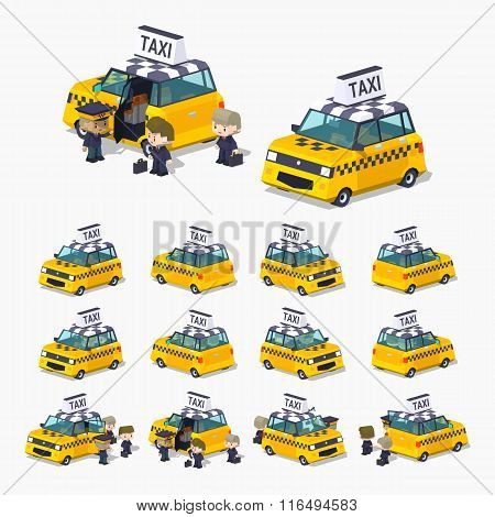 Taxi hatchback with the passengers