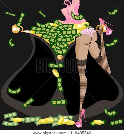 pink girl and money