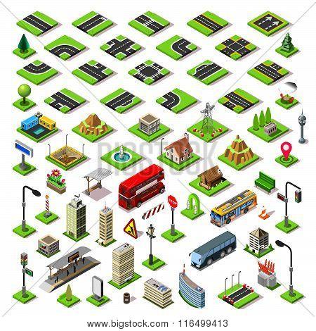 City Map Set 01 Tiles Isometric