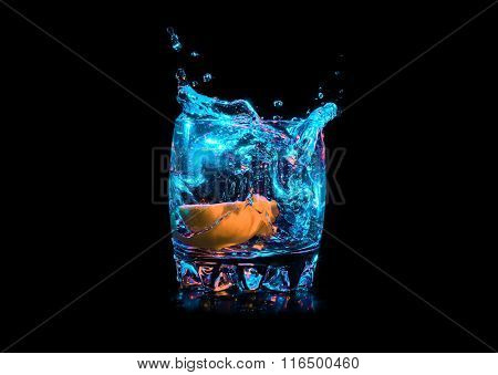 Colorful cocktail with lemon slice on the black background
