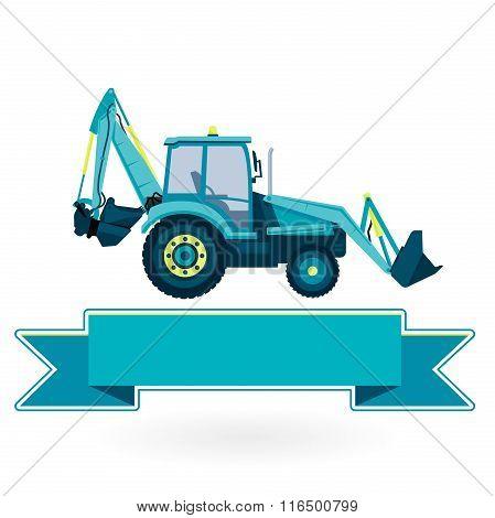 Blue big digger excavator builds roads on white.