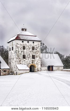 Hovdala Castle Courtyard In Winter
