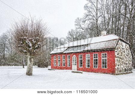 Hovdala Castle Orangery In Winter