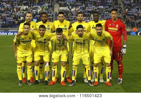 BARCELONA - JAN, 23: Villarreal CF lineup posing before a Spanish League match against RCD Espanyol at the Estadi Cornella on January 23, 2016 in Barcelona, Spain