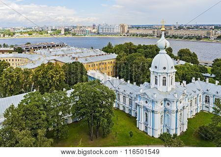 Saint-Petersburg Russia. View of Neva river from tower of Smolny Cathedral. poster