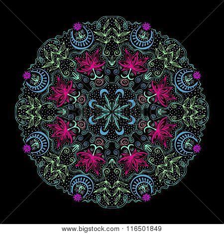 Colorful Round Tantric Mandala At Black