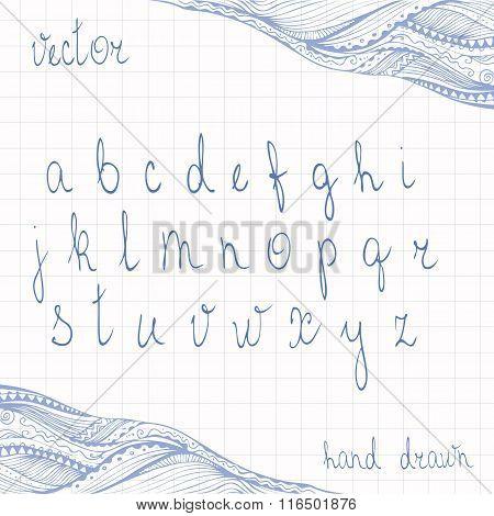 Hand Drawn Cursive Alphabet