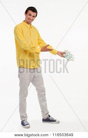 Showman holding pile of cash.