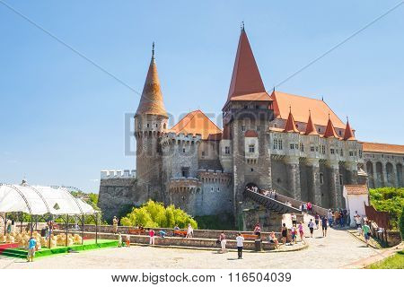 Hunedoara, Romania, 11 July, 2015: People Visiting Corvin Castle In Hunedoara, Romania