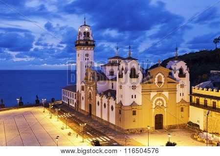 Candelaria Church at night. Candelaria Santa Cruz de Tenerife Tenerife Canary Islands Spain.