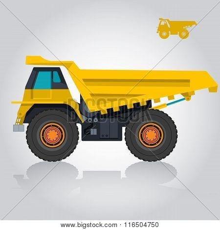Yellow big truck builds roads on white.