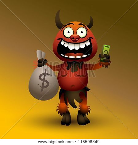 Fanny red devil with money.(2) eps