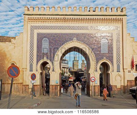 Bab Bou Jeloud. Fez El Bali Medina. Fez, Morocco. Africa.