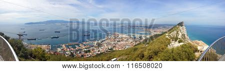 perfect background panoramic view on top of the Gibraltar, the Atlantic Ocean, the Strait of Gibralt