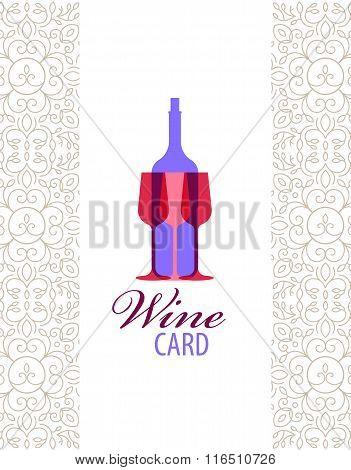 Vector wine card icon, logo, menu cover