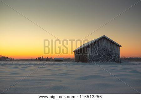 Barn Against The Sunrise