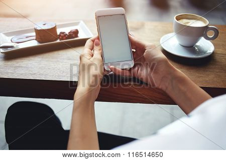 Female reading news on cell telephone during rest in coffee shop