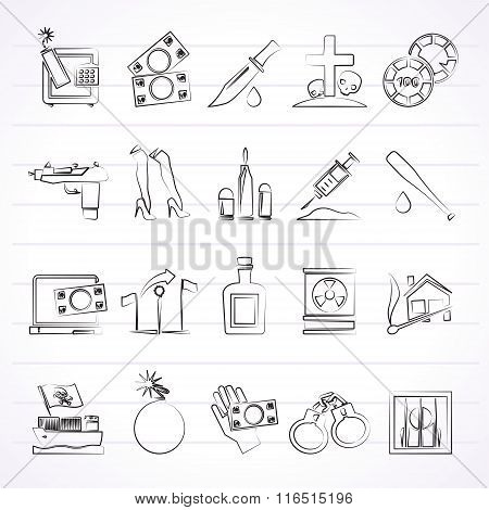 Mafia, Gangster and organized criminality activity icons - vector icon set poster
