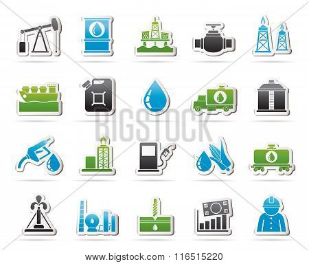 Oil industry, Gas production, transportation and storage icons