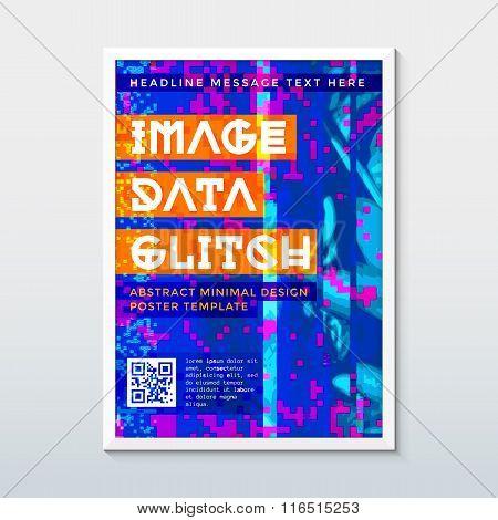 Colored Glitch Design Background Poster Template.