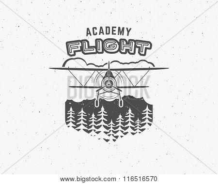 Vintage airplane emblem. Biplane label. Retro Plane badge, design elements. Aviation stamp. Airshow