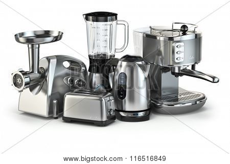Metallic kitchen appliances. Blender, toaster, coffee machine, meat ginder and kettle isolated on white. 3d