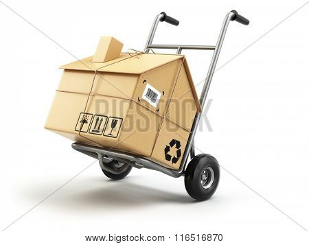 Hand truck with cardboard box as home isolated on white. Delivery or moving house concept. 3d