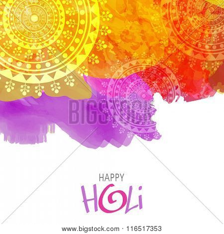 Colourful splash with floral design decorated background for Indian Festival of Colours, Happy Holi celebration.
