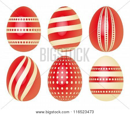 Set of Easter eggs in red and ecru