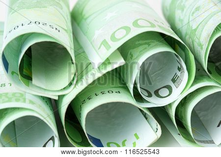 euro banknotes rolled up