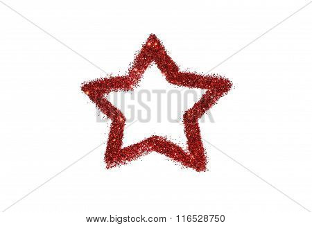 Abstract star of red glitter sparkle on white background