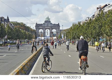 Bicyclist And Walkers Enjoy Car Free Streets