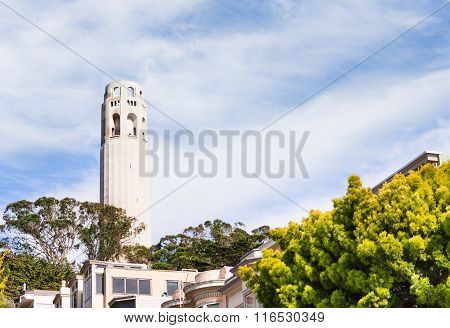 Coit Tower from residential area in San Francisco