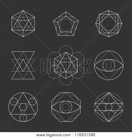 Sacred Geometry Shapes. Spirituality, Alchemy, Religion, Hipster