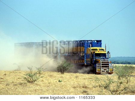 Road Train Makes Dust Cloud