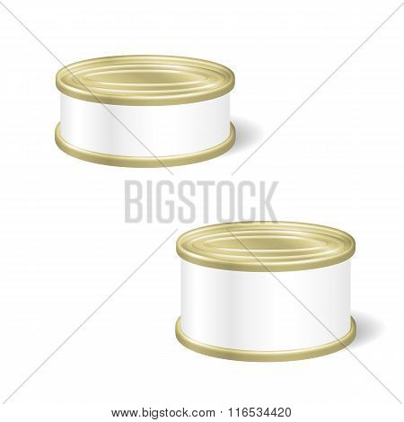 Realistic Blank Tins For Canned Food, Preserve, Conserve. Mock U
