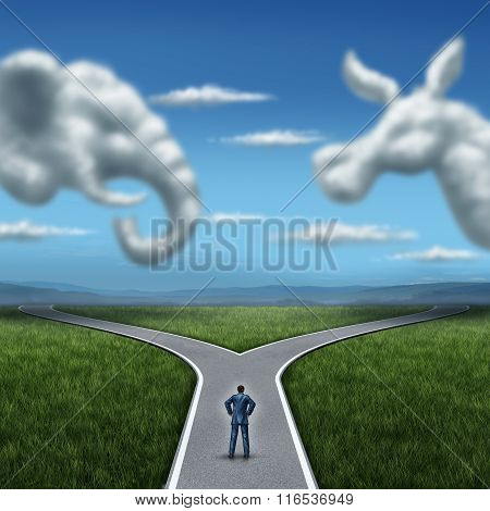 Republican versus democrat concept American election campaign fight as two clouds shaped as an elephant and donkey symbol with a voter on a cross road dilemma for the vote of the United states for an election win. poster