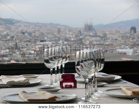 Barcelona from a restaurant