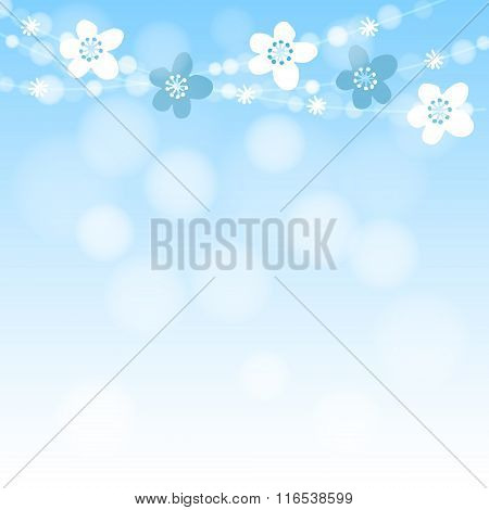 Cute Spring Card With Cherry Tree Blossoms Garland And Lights, Blue Vector