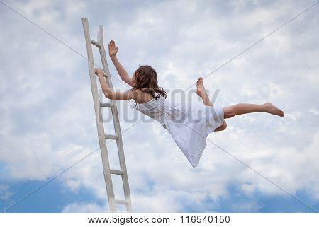 concept for effort, determination, escape, flight, escape, woman with ladder