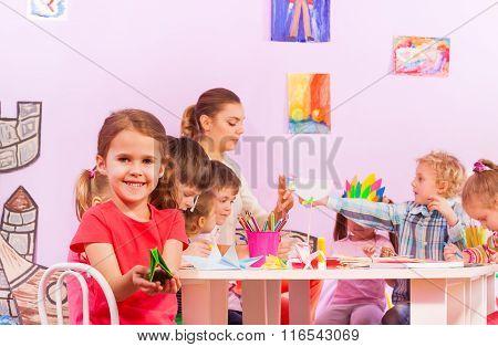 Group of kids in origami preschool class