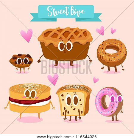 A set of cute sweets. Illustration with funny characters. Love and hearts. Funny food. Cookies, appl
