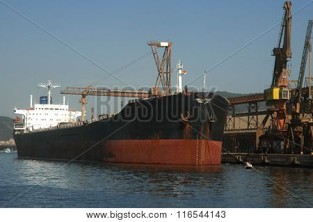 Grain Ship Docked