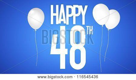 Happy Birthday Card - Boy With White Balloons - 48 Years Greeting Postcard - Illustration Anniversar
