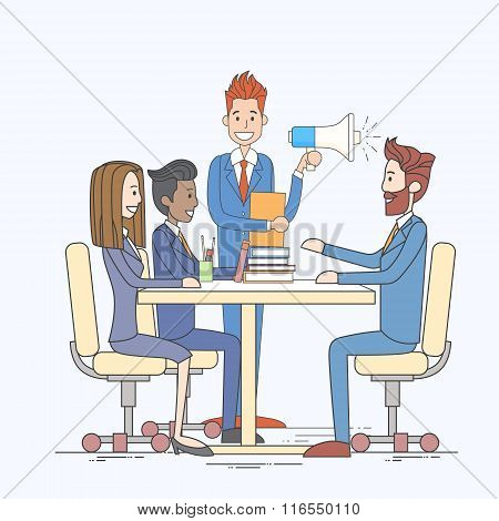 Businessman Hold Megaphone Loudspeaker Colleagues Business People Team Group Working Desk