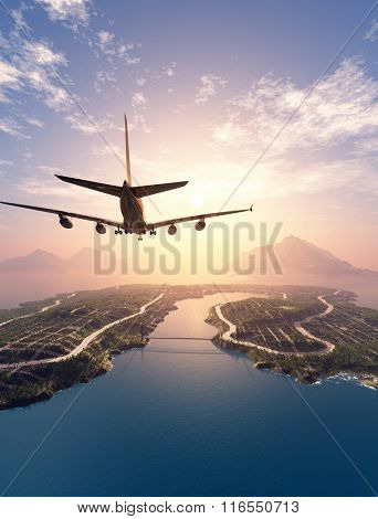 Modern aircraft flies over the island.