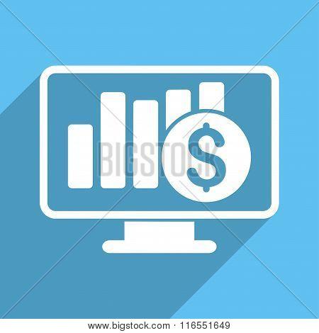 Stock Market Monitoring Long Shadow Square Icon