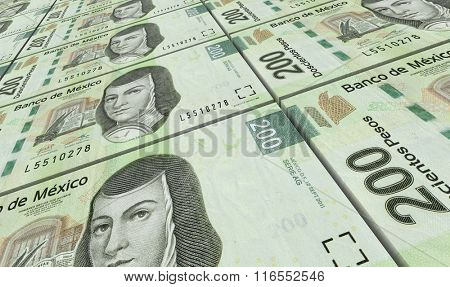 Mexican pesos bills stacks background. Computer generated 3D photo rendering.