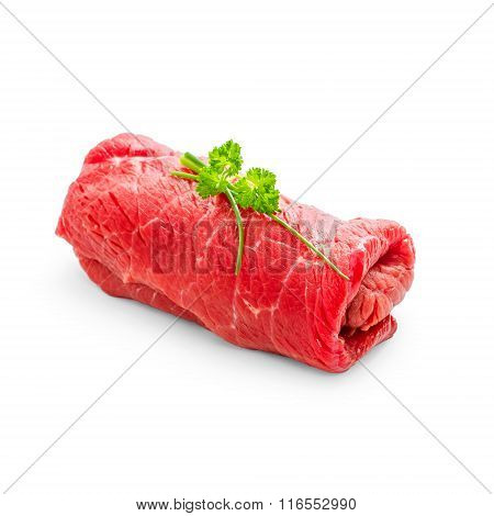 Juicy Raw Beef Rouladen On White