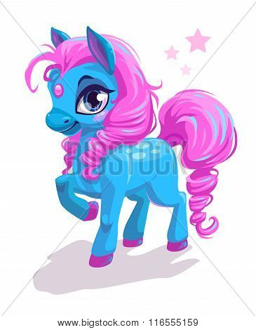 Cute cartoon little blue horse with pink hair